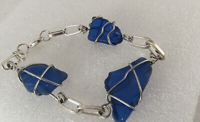"""Silver Plated Blue Sea Glass Hand Crafted 8"""" Bracelet"""