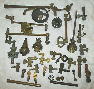 Lot of 37 Vintage Brass Gas Lamp Parts including Lamps, Valves & Accessories