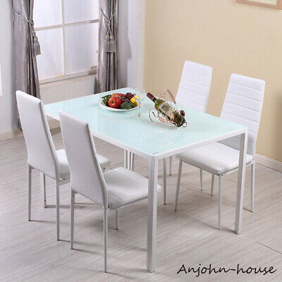 Remarkable Modern Glass Kitchen Dining Table And 4 6 Faux Leather Unemploymentrelief Wooden Chair Designs For Living Room Unemploymentrelieforg