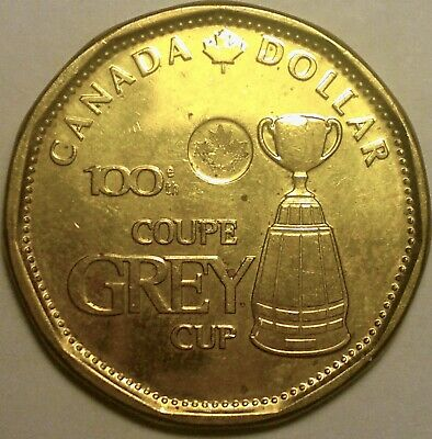 2012 Canada $1  Dollar Coin, 100th Grey Cup, CFL football, loonie