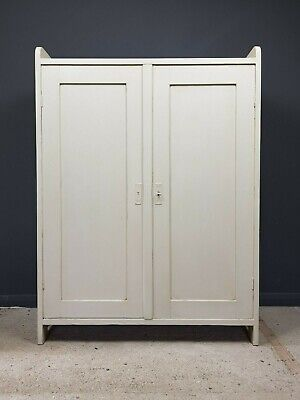 Small Rustic aged Painted Antique Old Pine Storage Linen Cupboard Cabinet