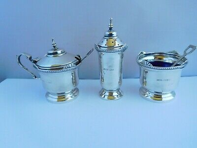 Nice English Sterling Silver Art Deco Shell & Shovel Condiment Set