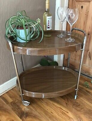 Vintage Retro Cocktail Drinks Trolley chrome Wood Effect Plastic Oval 2 Trays