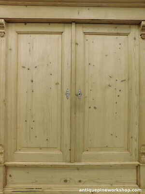 Outstanding Stripped Antique Old Pine Wardrobe Unfinished Armoire Cupboard