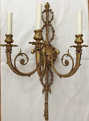"""PAIR Vintage French Adams Style 3 Light Brass Tassel Wall Sconce Sconces 26"""""""