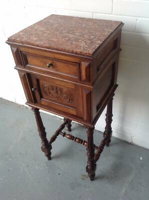 C1870 Table Du Nuit French Bedside or Lamp Table Marble Topped