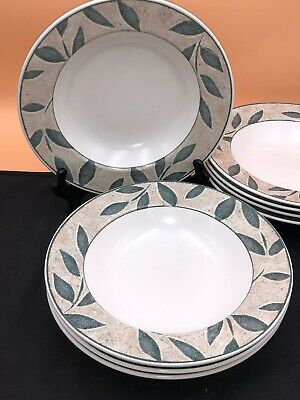 Mikasa Intaglio Nature's Song Rimmed Soup Salad Pasta Bowls Stoneware Set of 4