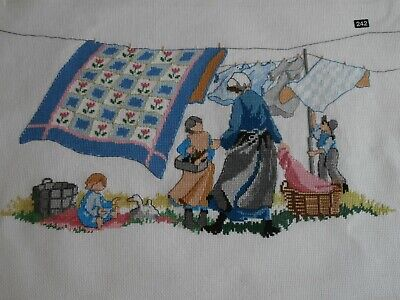 Washing Line Quilt Family Mother Children  completed cross stitch picture