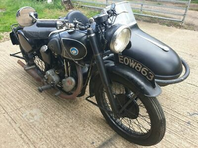 ajs 350 1947 manual low miles 9712 completely original motorbike and sidecar