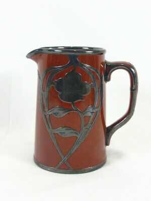 Vintage Creamer Sterling Silver Overlay Brown Glazed Porcelain Pitcher Jug