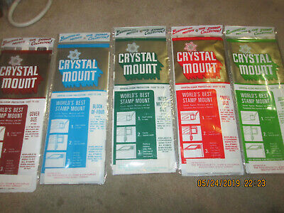 5  SOFT  CRYSTAL MOUNTS small , intermediate, jumbo, Bl of 4, cover size