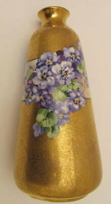 "Beautiful Antique 9"" Hand Painted Bavaria Austria Violets Vase Early 1900s"