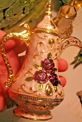 Exquisite Chinese Cloisonne  Teapot Shape Tooth Pick Holder Hand Carved Roses