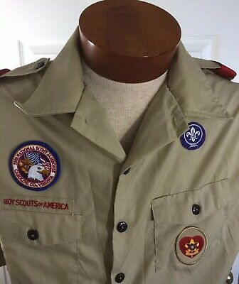 Boy Scouts Official Uniform Shirt Mens Large Tan Short Sleeve Made In Usa
