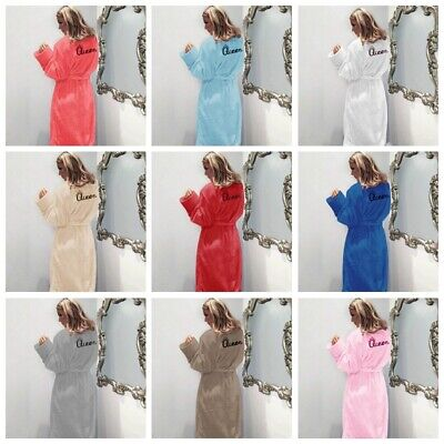 Womens Full Length Luxury Flannel Fleece Dressing Gown Queen Bath Robe Plus Size