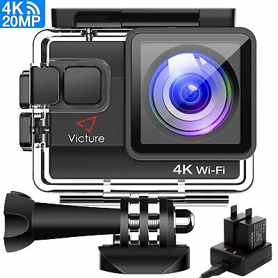 Victure 4K Action Camera Waterproof Ultra HD 20MP WIFI 40M Underwater Accessorie