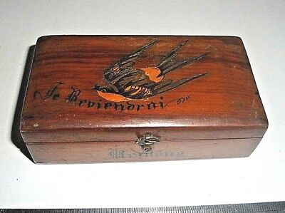 Antique 1890'S Small French Marquetry Stamp Box. Je Reviendrai  (I'll Be Back)