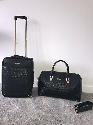 River Island Black & Gold Suitcase Travel Luggage Cabin Weekend Bag Holdall