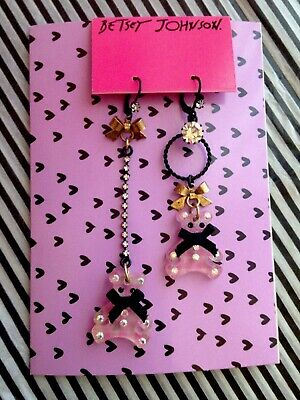 NWT Betsey Johnson Lucite Pink Gingham Mis-Matched Teddy Bear Earrings RARE