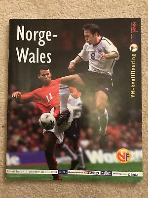Norway v Wales Official Football Programme 2001 World Cup Qualifying