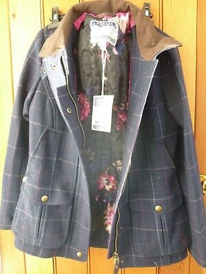 a1b871e767f39 Joules Navy Check Fieldcoat Uk 10 Tweed Deep Pockets Shooting Hunting  Country