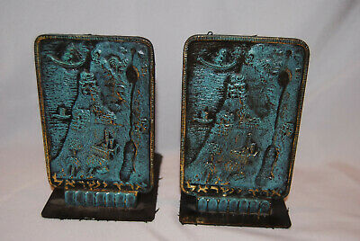 Vintage Mid Century Pal-Bell Palbell Map Eretz Israel Judaica Bookends Bronze