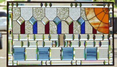 """• IN THE MOMENT •Beveled Stained Glass Window Panel • 35 3/4"""" X 19 5/8"""" *"""