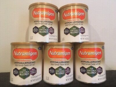 5 Cans Of Nutramigen with Enflora LGG Hypoallergenic Infant Formula Powder