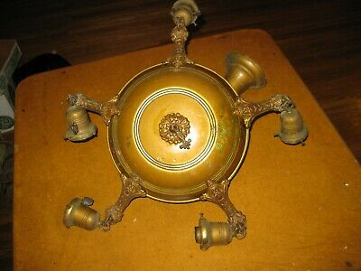 Antique Ornate Chandelier Hanging Ceiling Light Fixture 5 Arms Parts or Restore