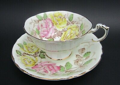 Vintage Double Warrant Paragon Teacup - Beautiful Pink and Yellow Roses