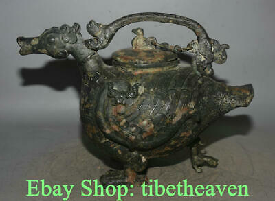"16.8"" Antique Chinese Bronze Ware Shang Dynasty Palace Quack-quack goose Zun Pot"