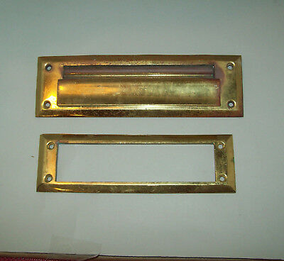 Vintage CORBIN Mail Slot #2320 Inside and out, CAST BRASS Heavy 1930's