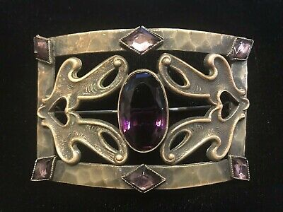 Vintage Antique Victorian Amethyst Purple Glass Sash Pin Brooch Antiqued Brass