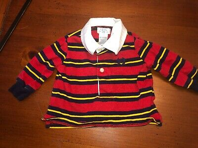 Chaps Infant Boys Striped Polo Long Sleeve Shirt Size Newborn