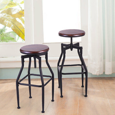 New Vintage Bar Stool Metal Wood Top Height Adjustable Swivel Chair Set of 2