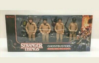 Mcfarlane Stranger Things GHOSTBUSTERS 4-FIGURE SET Mike Will Dustin Lucas NEW
