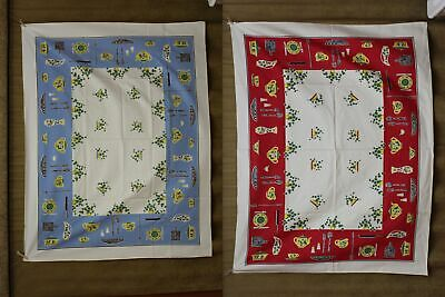 Vintage Kitchen Tablecloths (x2) Red & Blue Teapot, Tea Cups & Green Ivy 1950s