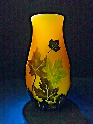 Vintage Mission Style Galle Inspired Autumn Maple Leaves Cameo Glass Vase