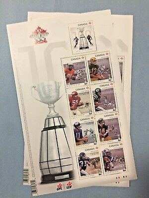 Canada Post 2012 100th Grey Cup Game stamp sheet !!!