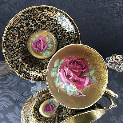 Paragon Black Red Rose & Gold Bone China Teacup Saucer England Tea Cup