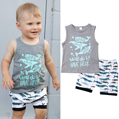 Cute Infant Toddler Kids Baby Boy Summer T-shirt Tops+Shorts Outfits Clothes