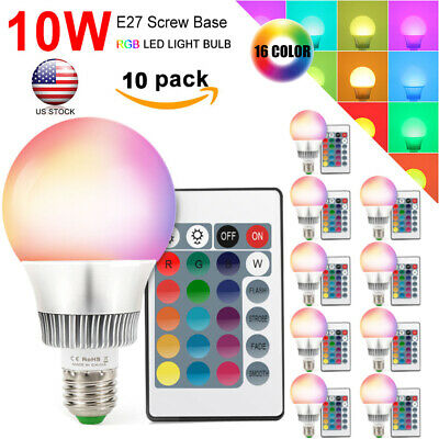 Dimmable 10W E27 RGBW LED Light Bulb 16 Color Change Lamp Memory Function+Remote