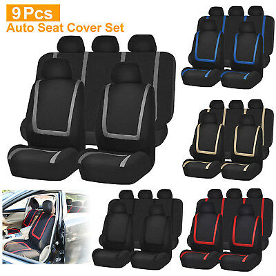 9Pcs Auto Seat Cover Set Front Seat Back Bench Rear Backrest Covers Universal