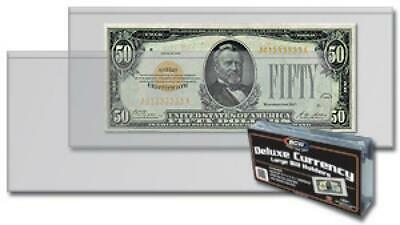 Pack of 50 BCW Currency Sleeves Large Semi Rigid US Note Size Holder Free Ship