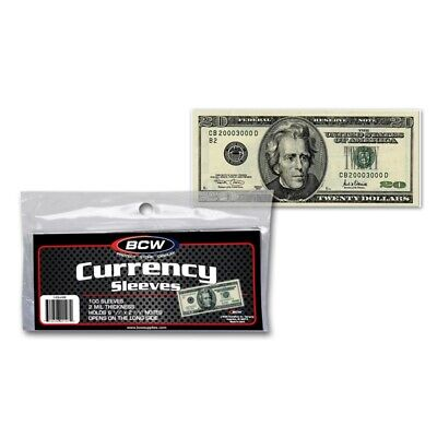 Pack of 100 BCW Ultra Thin Holders US Currency Banknotes Sleeves Modern Size