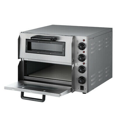 Electric Pizza Oven Maker Commercial Twin Deck 3KW Stone Stainless Steel