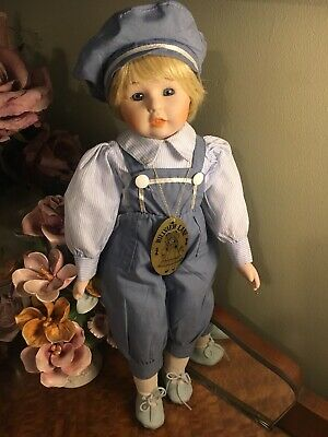 Ceramic Bisque Boy Doll 40cm Hillview Lane Blue Eyes Outfit Blonde Hair