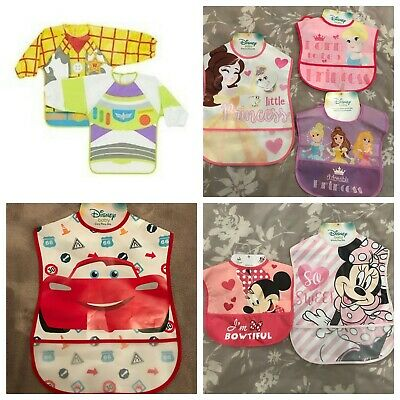 Disney Baby Toddler Weaning Bibs Crumb Catcher Wipe Clean Princess Minnie Mouse