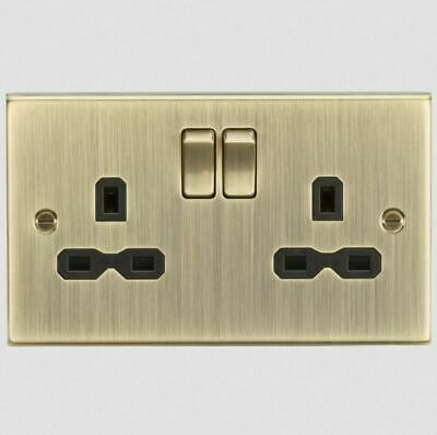 Bel Etage Square Edge Double Switched Wall Mounted socket Antique Brass
