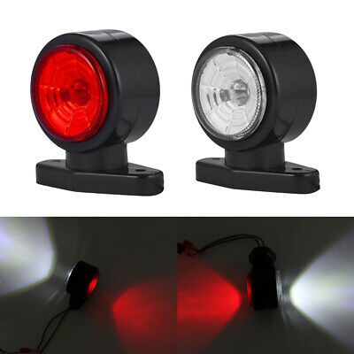 2 x LED Red White Side Marker Lights Outline Lamp Car Truck Trailer Van 12V/24V